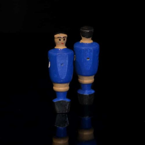 Portero futbolín azul